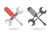 Repair icon. Wrench and screwdriver. Editable EPS vector format