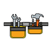 tool belt and tools icon over white background vector illustration
