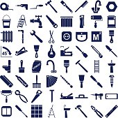blue  icons in white background on repairs and tools.