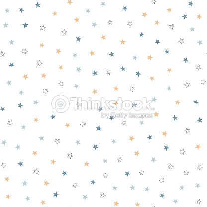 Repeated black, blue and brown stars on white background. Cute festive seamless pattern. : stock vector