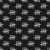 Repeated tally marks. Seamless pattern. Sketch, doodle. Vector illustration.
