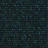 Blue hexadecimal computer code repeating vector background wallpaper.