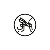 Repellent line icon. Mosquito and prohibiting sign. Fever concept. Vector illustration can be used for protection, preventing, safety precaution