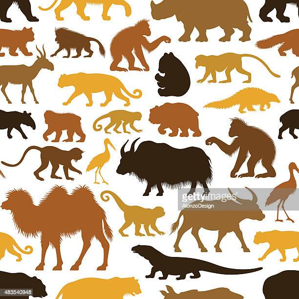 Repetitive Asian Animals Pattern