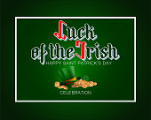 Holiday design, background with 3d handwriting texts, four leaf clover, green hat with orange ribbon and golden coins for St. Patrick's day celebration