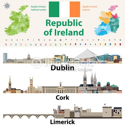 Cities In Ireland Map.Republic Of Ireland Traditional Countries And Provinces Map And