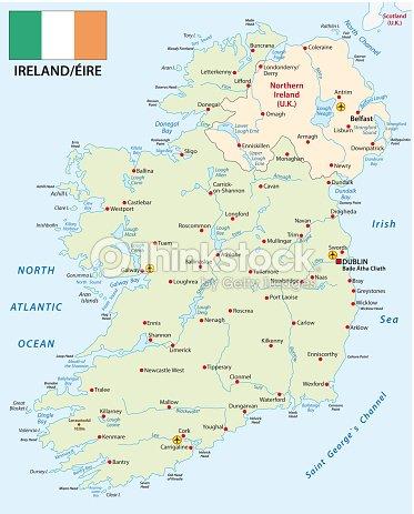 Republic Of Ireland And Northern Ireland Map.Republic Of Ireland Vector Map With Flag Stock Vector Thinkstock