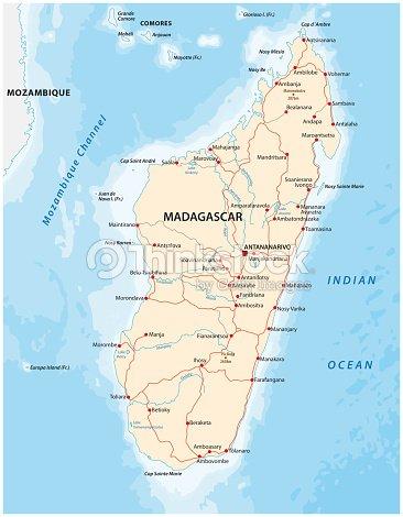 Republic Of Madagascar Road Vector Map stock vector - Thinkstock on
