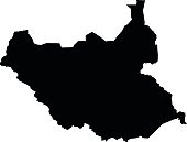 Republic of South Sudan black map on white background vector