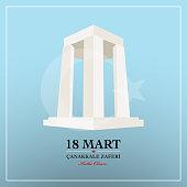 Republic of Turkey National Celebration Card. 18 March Canakkale victory day.  Turkish :  Canakkale zaferi 18 Mart.
