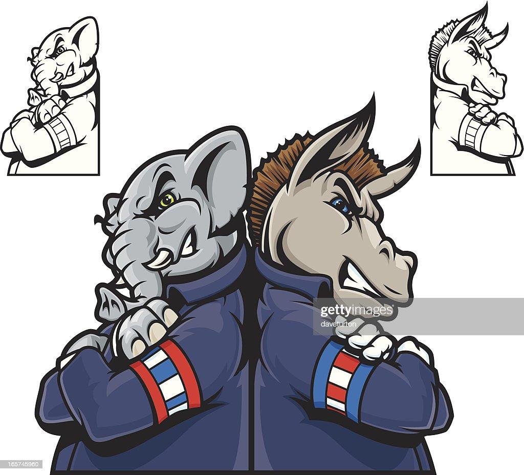 Republicans vs. Democrats : Vector Art