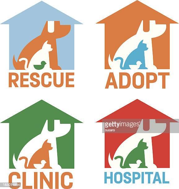 Rescate adoptar clínica Hospital iconos de mascotas