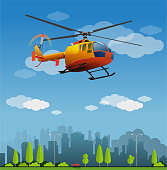 Vector illustration, rescue helicopter flight on the city
