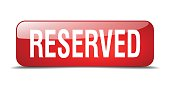 reserved red square 3d realistic isolated web button
