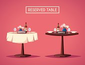 Reserved sign on the table in restaurant. Cartoon vector illustration. Dinner date. Celebration at the cafe. Food and drink theme. Romantic evening.