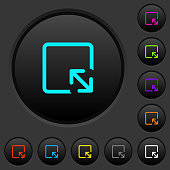 Resize object dark push buttons with vivid color icons on dark grey background