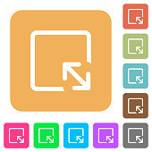 Resize object flat icons on rounded square vivid color backgrounds.