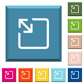 Resize object white icons on edged square buttons in various trendy colors