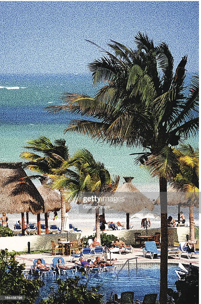 Resort Swimming Pool and Beach : Vector Art