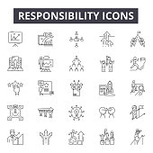 Responsibility line icons, signs, vector set, linear concept outline illustration