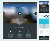 Responsive landing page or one page website template in flat design with modern blurred header background.