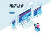 Responsive internet creation, conceptual screen interface for mobile. Building a device display content. Layout for smartphone. Concept with characters and text flat isometric vector illustration.