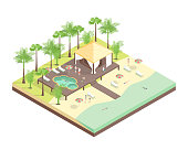 Rest House Concept 3d Isometric View Include of Palm, Bungalow, Sand, Seaside and Pool. Vector illustration of Vacation