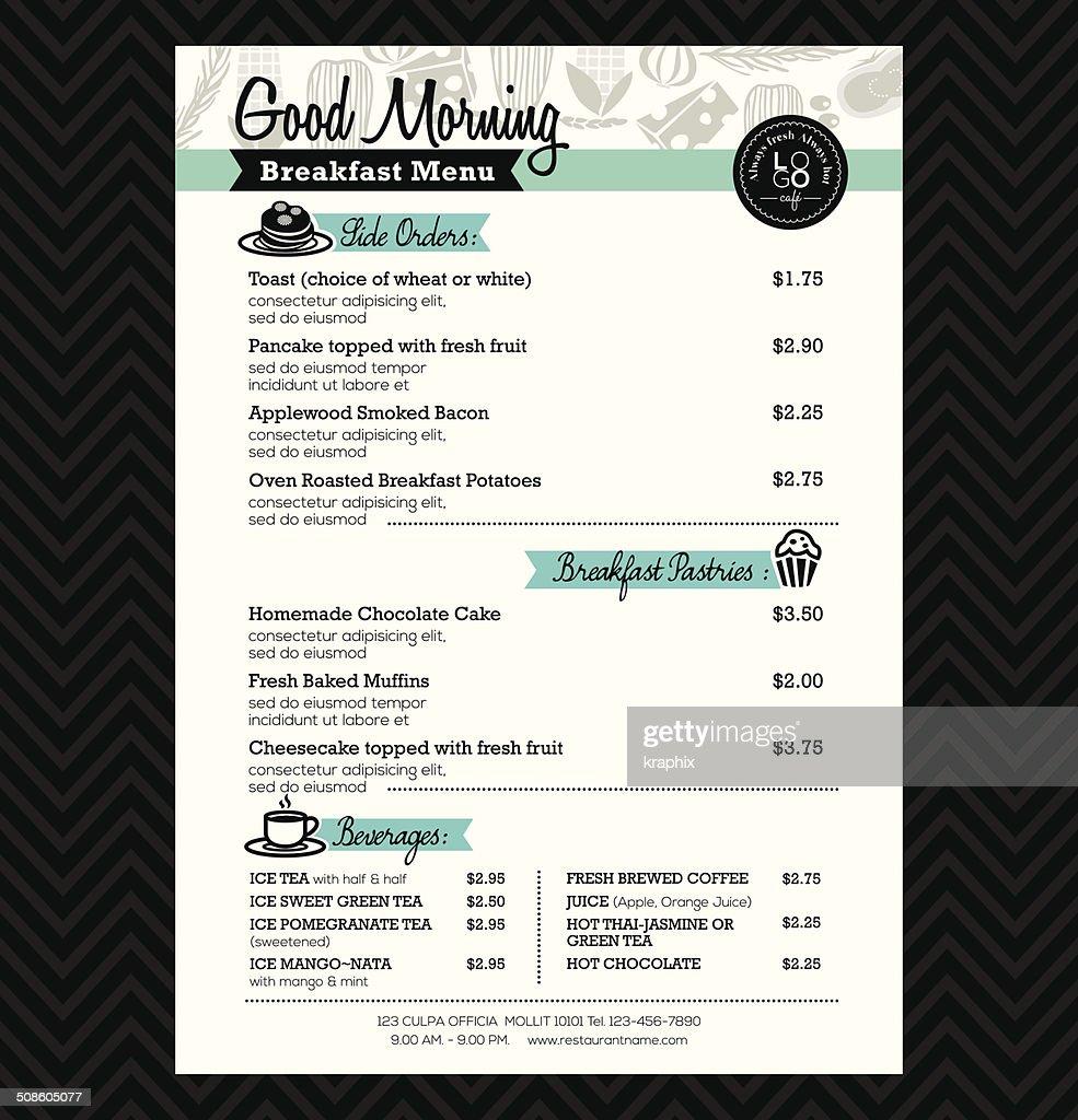 Restaurante plantilla de diseño de diseño de menú de desayuno : Arte vectorial