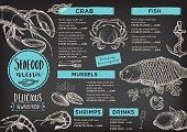 Seafood cafe menu brochure.