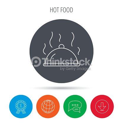 Restaurant Cloche Icon Hot Food Sign Vector Art Thinkstock