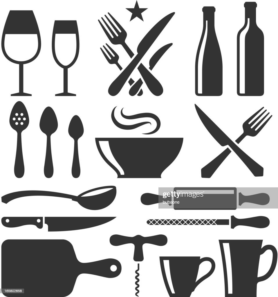 Restaurant Emblem And Kitchen Appliances Black White Set