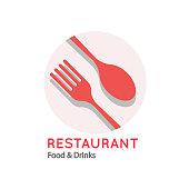 Restaurant Food & Drinks Logo Fork Spoon Background Vector Image