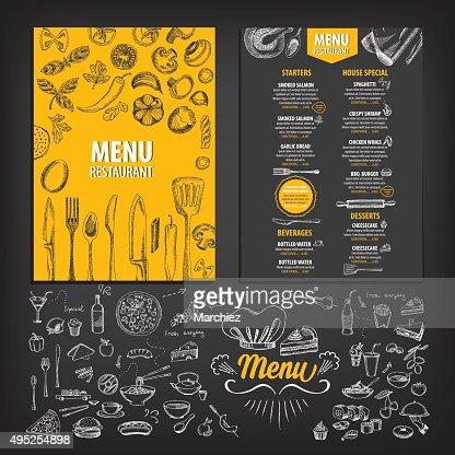 Restaurante menú de comida. : Arte vectorial