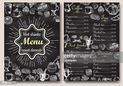 Restaurant hot drinks menu design with chalkboard background. Vector illustration template in vintage style. Hand drawn style. Hot tea, coffee, cacao : Arte vetorial