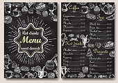 Restaurant hot drinks menu design with chalkboard background. Vector illustration template in vintage style. Hand drawn style.