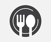 Modern icon restaurant. Spoon and Fork With a dish Vector illustration. Food, dining, bar, cafe, hotel, eating concept. Sign Isolated on white background.