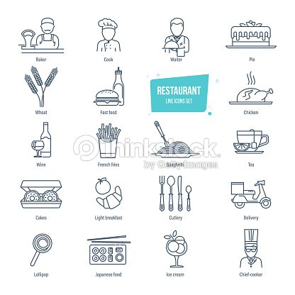 Restaurant line icons set. Employees of restaurant, food, drinks, delivery