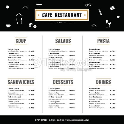 Restaurant Menu Design Template Layout Hipster Style Graphic – Restaurant Menu Planning Template