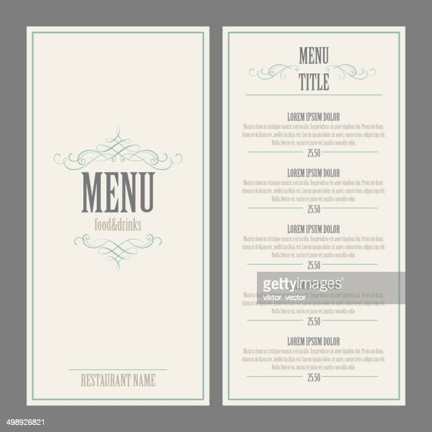 Menu du Restaurant.  Illustration vectorielle