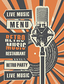 Vector banner or restaurant menu with live music decorated with old vinyl record and microphone on bright background with rays in retro style. Retro music restaurant