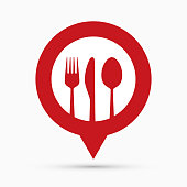 Restaurant navigation mark, red pointer