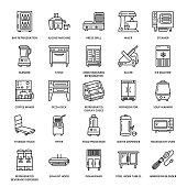 Restaurant professional equipment line icons. Kitchen tools, mixer, blender, fryer, food processor, refrigerator, steamer, microwave oven. Thin linear signs for commercial cooking equipment store.