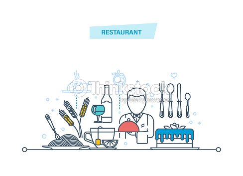 Restaurant thin line icons, pictogram and symbol. Food, drinks, employees