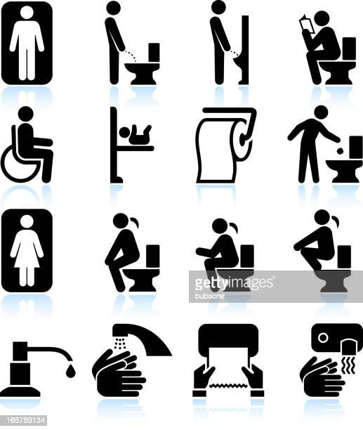 Restroom bathroom Amenities and Signs black & white icon set
