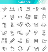 Bath equipment icons made in modern line style