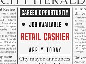 Retail cashier career - job hiring classified ad vector in fake newspaper.