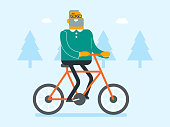 Retired caucasian white man riding bike in the park. Senior man riding bicycle outdoor. Active senior man enjoying walk with bicycle. Vector cartoon illustration.