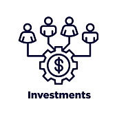 Retirement Investments / Dividend Income, Mutual Fund, IRA Icon set