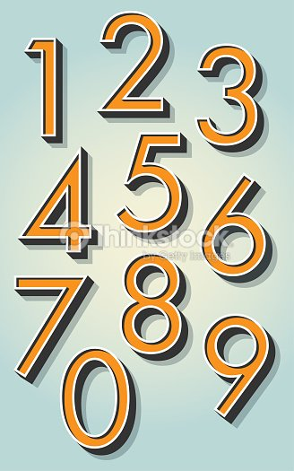 Retro 3D Numbers : stock vector
