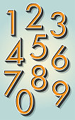 Retro 3D Numbers on the Gradient Background